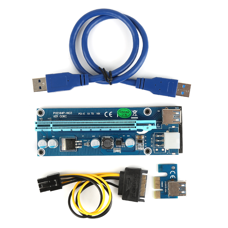 Centechia PCI-E 1x to 16x Mining Machine Enhanced Extender Riser Card Adapter with 50cm USB 3.0 SATA Power Cable Card Adapter riser pci e x1 pcie 1x to pci express x1616x mining machine enhanced extender riser card adapter with usb 3 0