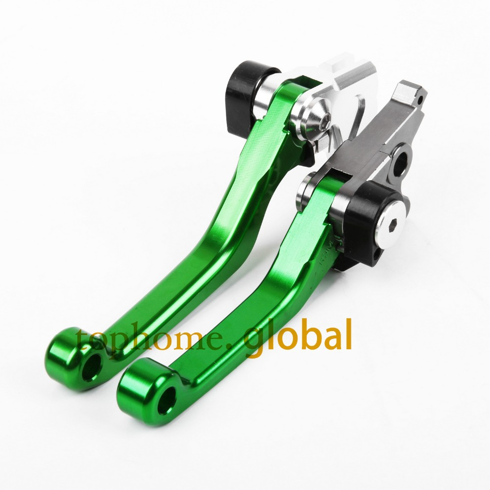 Hot One Pair CNC Pivot Dirttbike Brake Clutch Levers Green Color For Kawasaki KDX125SR 1990-2013 2012 2011 2010 2009 2008 2007 hot one pair cnc pivot dirttbike brake clutch levers for honda crf450r 2007 2015 2008 2009 2010 2011 2012 2013