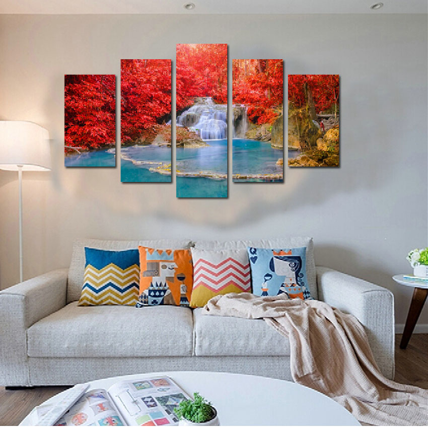 Frameless landscape canvas paintings for living room wall - Landscape paintings for living room ...