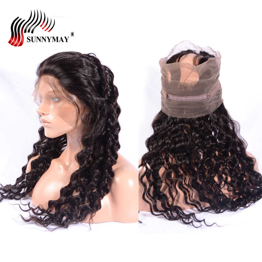 Suunymay Pre Plucked 360 Lace Frontal Loose Deep Wave Brazilian Virgin Human Hair Lace Frontal Closure With Baby Hair