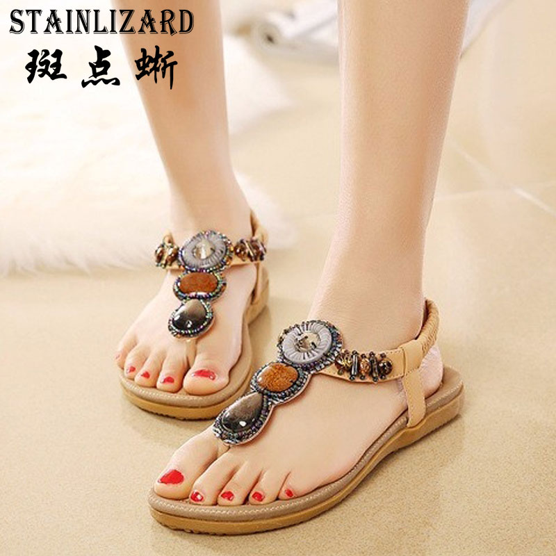 Female Flip Flops 2017 Summer Women New Fashion Sandals Beach Bohemian Flat Shoes Wild Women Summer Shoes Concise aAT01 free shipping summer shoes women sandals beaded bohemian flip flops sandals beach shoes for women