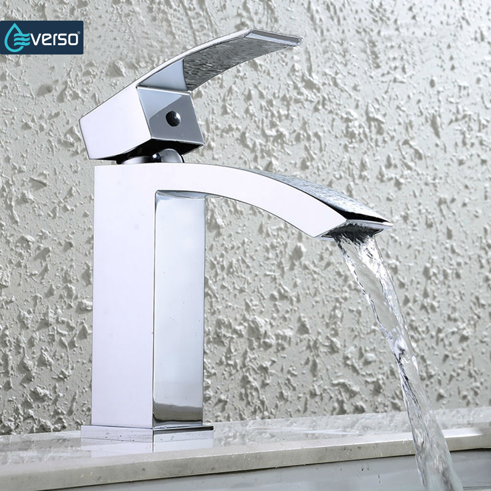 Bathroom Sink Faucets Aliexpress Buy Everso Waterfall Faucet Bathroom Sink Faucet Tap Bathroom Faucet Basin Faucet Water Tap Bathroom Tap Torneira From Reliable