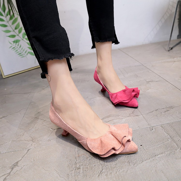 2019 new sweet suede pointed high-heeled shoes with wine glasses and fashion bows with womens shoes2019 new sweet suede pointed high-heeled shoes with wine glasses and fashion bows with womens shoes
