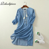 Rihschpiece Summer Beach Denim Dress Women Plus Size Vintage Embroidery Dresses Party Sexy Clothing Jeans Dress