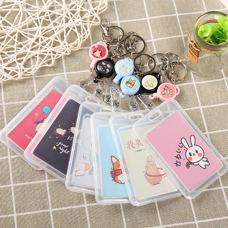 Creative China Word Men And Women Badge Reel Card Holder Use For Key Buckle Student Keychain Extensible Plastic Cat  Card Holder