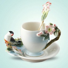 Enamel Porcelain Coffee Cup with Saucer Spoon Set Magpie Coffee tasse cafe Ceramic Tea Service for Home Decoration Gift