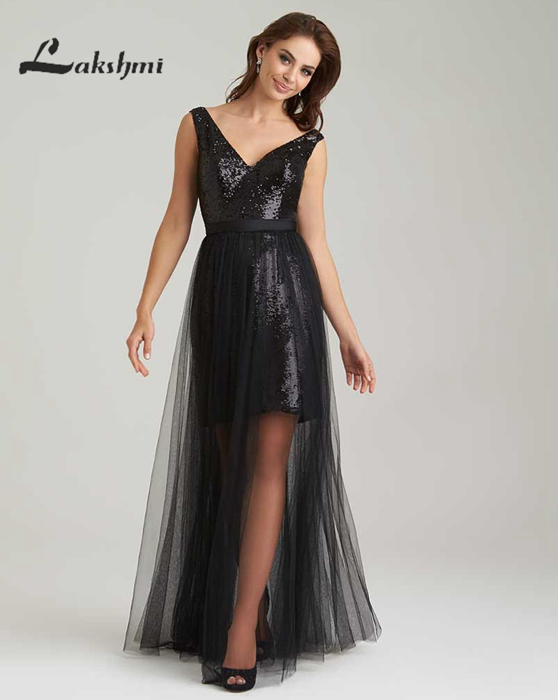 Fashion v neck black detachable skirt bridesmaid dresses for Maid of honor wedding dresses
