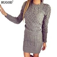 RUGOD 2018 אביב נשים שמלת סוודר שרוול ארוך סקסי Slim Bodycon vestidos שמלות המפלגה סקיני בנות נקבה Vintage סרוג