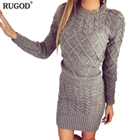 New Women Sweater Dresses Autumn Winter Long Sleeve Knitted Thick High Elastic Black White Gray Warm