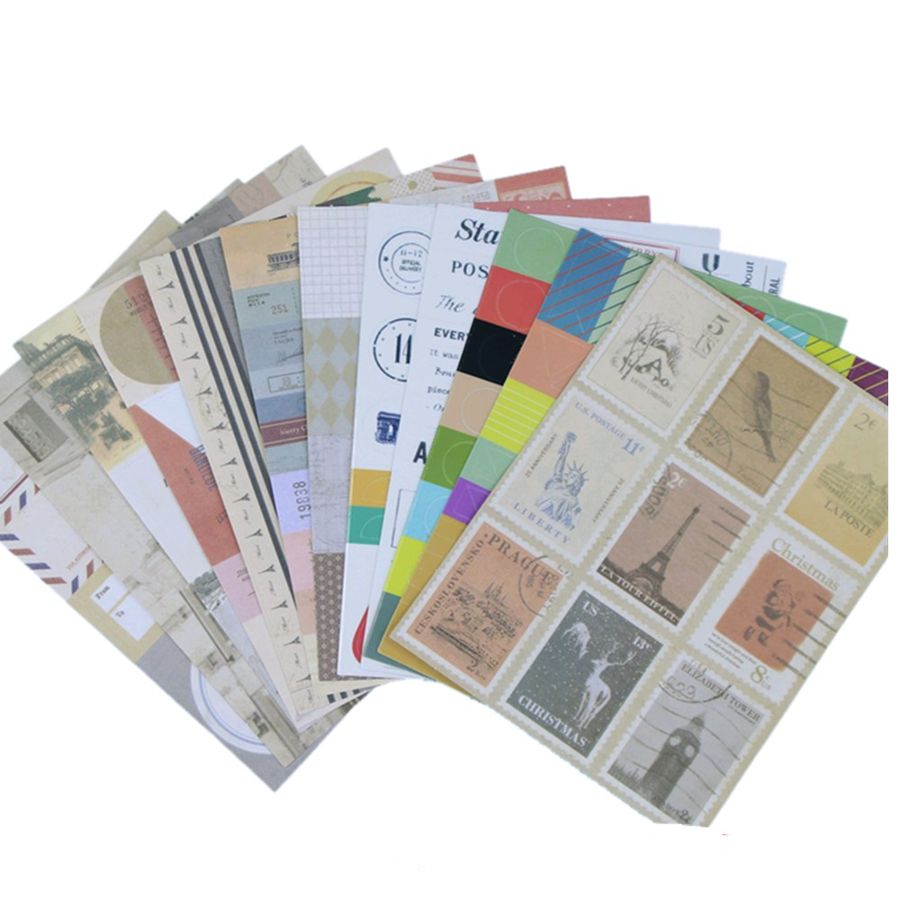 12 Sheets/lot Vintage Stamp Stickers Diary Planner Journal Note Diary Paper Scrapbooking Albums Photo Tag