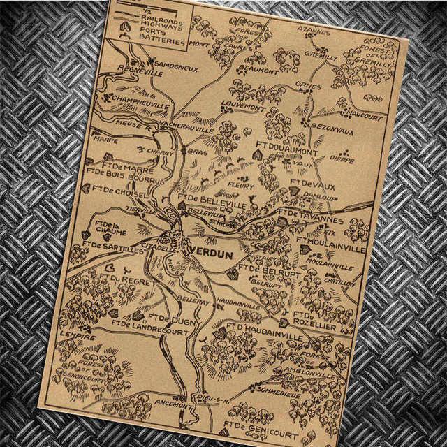 Vintage Mapa Retro Nostalgiczne Kraft Paper Plakat Akademik Apartament Tapety Cafe Bar Sypialnia Bezramowa Malarstwo Dekoracyjne