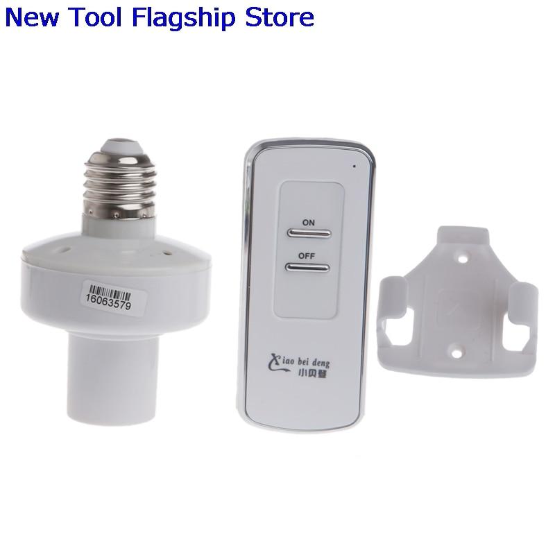 Wireless Remote Control E27 Screw Light Lamp Bulb Holder Cap Socket Switch 2018 New e27 wireless remote control switch light bulb socket white ac 110 220v
