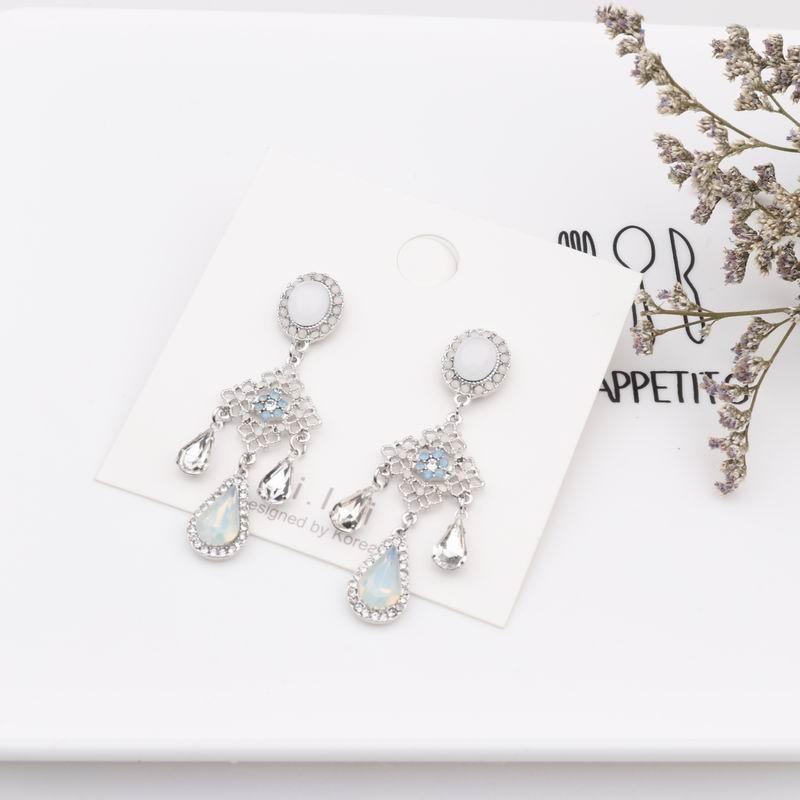 MENGJIQIAO New Baroque Style Opal Stone Water Drop Crystal Tassel Earrings For Women Vintage Statement Flower Long Pendientes 4