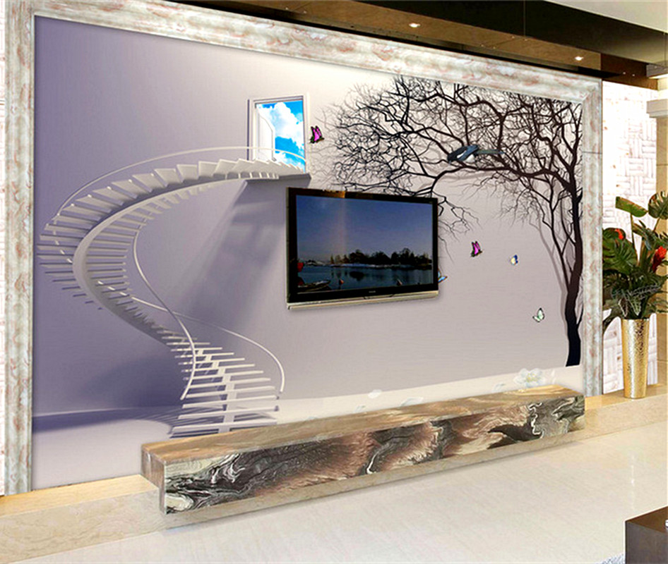 Customizable Modern 3d High Quality Non-woven Mural Wallpaper Staircase Abstract Tree Study Bedroom Background Wall Home Decor