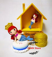 Hand knitted crocheted mermaid dolls music box pendant creative gift dolls set pieces