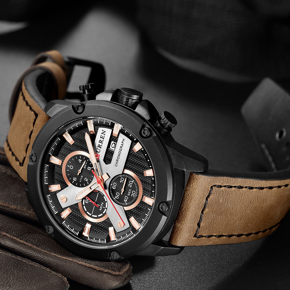 Fashion Casual Leather Strap Men Sport Watches CURREN Luxury Waterproof Chronograph Male Military Quartz Wrist Watch Clock New curren men s fashion and casual simple quartz sport wrist watch