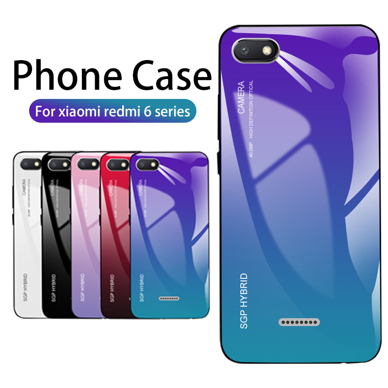 Gradient Case For <font><b>Xiaomi</b></font> <font><b>redmi</b></font> 7a Tempered Glass Soft Edge Cover <font><b>Redmi</b></font> note 8 pro Case on xaomi <font><b>redmi</b></font> note 7 <font><b>6A</b></font> 6 pro 7 a Coque image