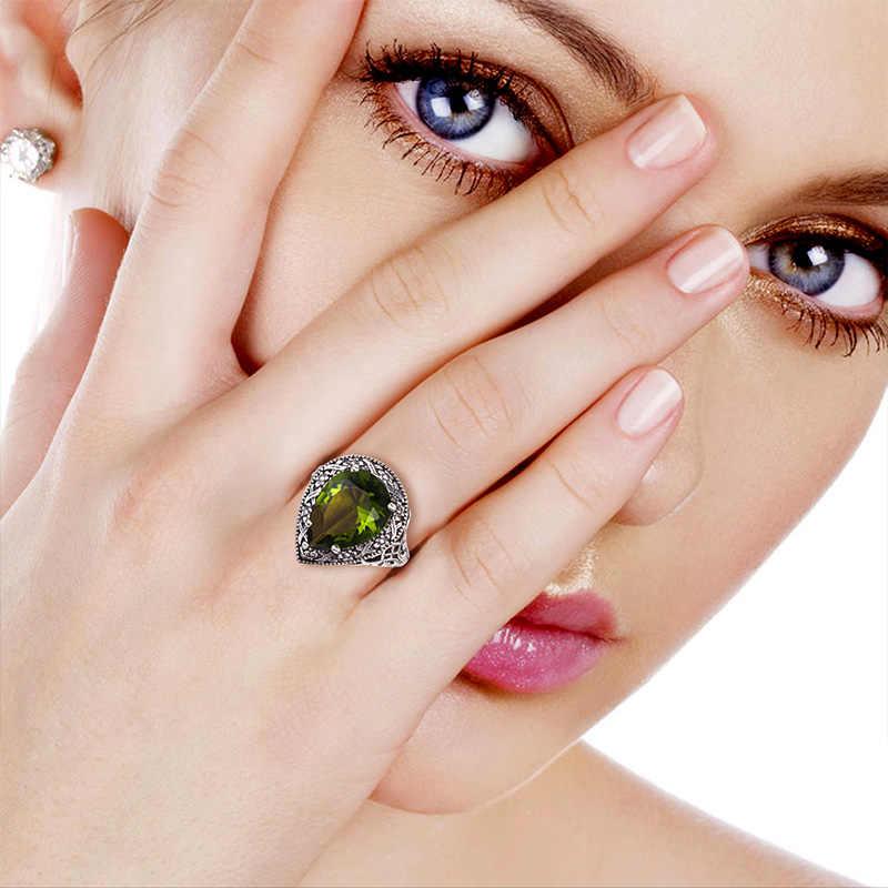 Szjinao Love แหวนผู้หญิงเครื่องประดับโบราณสีเขียว Olivine ผู้หญิงแท้ 925 แหวนเงินทิเบต Handmade Ring