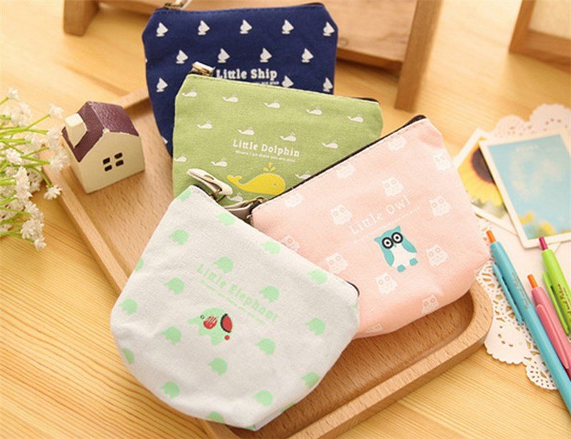 Hot Sell Womens Canvas Zip Coin Purse Clutch Wallet Handbag Small Mini Card Holder Cute S