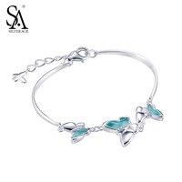 SA SILVERAGE Women/Girls Link Chain Bracelet 925 Sterling Silver Butterfly With Natural Gem Opal Bracelet for Women Fine Jewelry