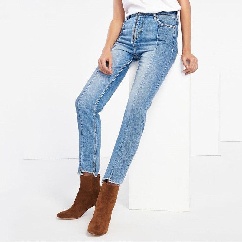 2018 nouveau Style haute rue Jeans femmes épissées cheville longueur Jeans haute attente lâche jambe droite Jeans exposés faux Zipper Jeans