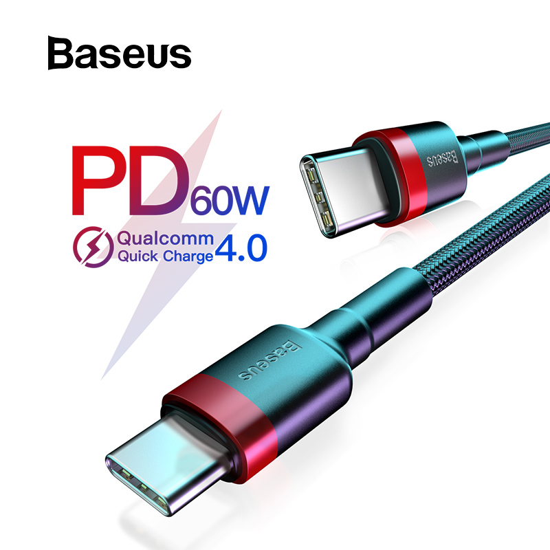 Baseus USB Type C to Type C Cable for Redmi K20 Note 7 Pro Quick Charge 4.0 Fast Charge Type-C Cable for Samsung S9 USB-C Wire feature phone