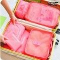 6 шт./компл. Нейлоновая сумка Упаковка Для Большой Емкости Двойная Молния Женщины Водонепроницаемый Мешок