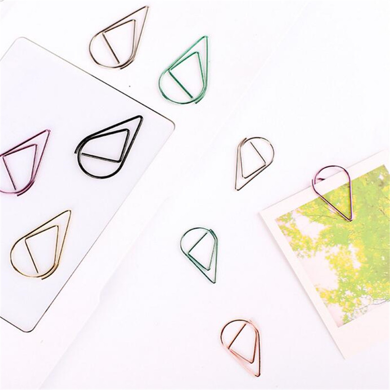 Hospitable New 50 Pcs/lot Metal Rain Drop Shape Paper Clips Gold Silver Color Funny Kawaii Bookmark Office School Stationery Marking Clips Clips