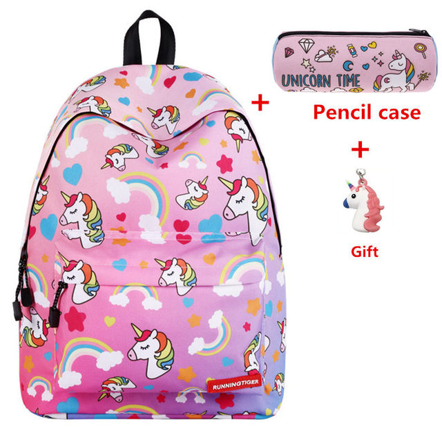 Unicorn 3D Printing Backpack Female Fashion School Backpack School Bags For Girls Sac A Main Laptop Travel Bags Bolsa Feminina