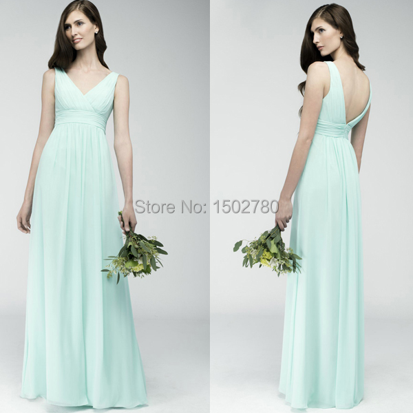 Under 100 Long Mint Bridesmaid Dresses Empire Floor Length Cheap ...