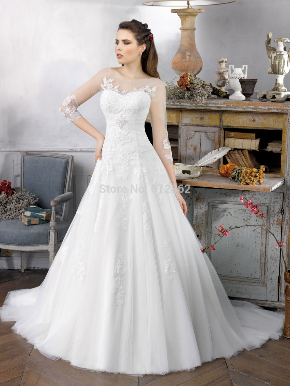 Modest Lace 3 4 Sleeve Wedding Dress Promotion-Shop for ...