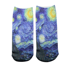 DMLSKY Van Gogh Funny Socks Women Men Fashion 3D Printed Cotton Cartoon Novelty M3329