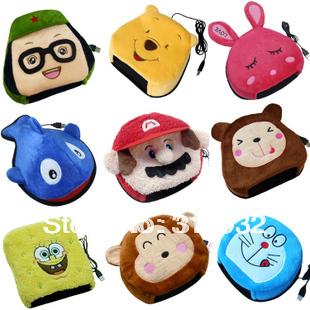 J5 Free shipping lovely cartoon usb heated mouse pad, 8 designs for choosing