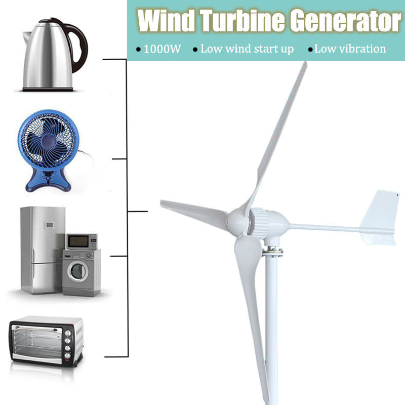 1000Watts Wind Turbine Generator 24V 48V Low Wind Speed Start 3 blade 1150mm + Wind Hybrid Controller 800w wind turbine generator 24v 48v 2 5m s low wind speed start 3 blade 1050mm with ip 67 charge controller