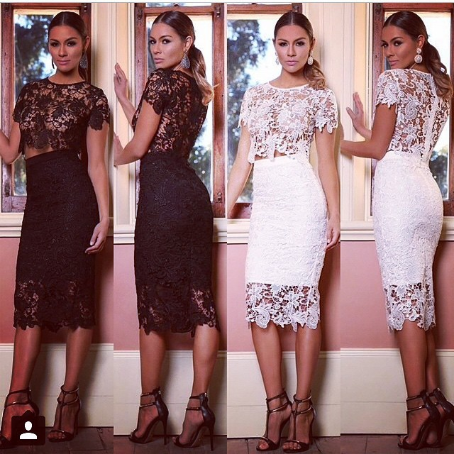 Tea Length Sexy See Through  Two Piece Venice Lace Cocktail Dress Figure Flattering Fitted on Hip  Short Women Party Gown