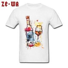 Oktoberfest T-shirt Art Design Men T Shirt Red Wine Bottle Printed