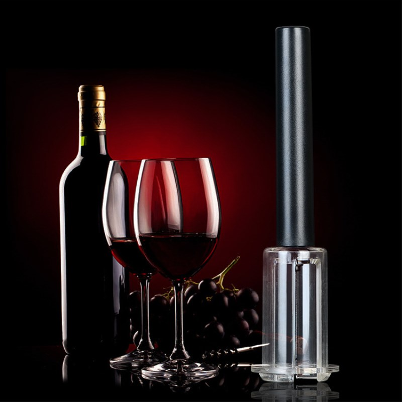 ETya 1PC Stainless Steel Air Pump Wine Bottle Opener Wooden Cork Stopper Bottle Pumps Kitchen Opening Tools Bar Accessories