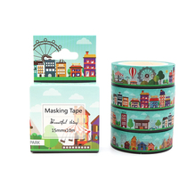 Box Package Amusement Park Washi Tape Excellent Quality Colorful Paper Masking Tape DIY Decorative Tapes 10m*15mm