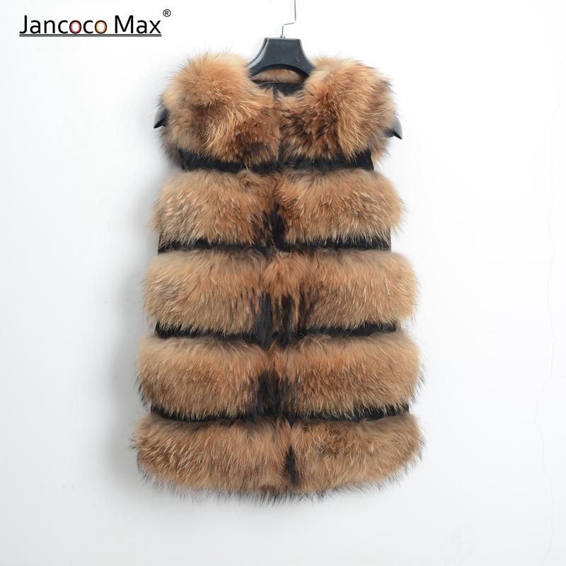 Women Real Genuine Raccoon Fur Vest Long High Quality Gilet 5 Rows Waistcoat S1150L