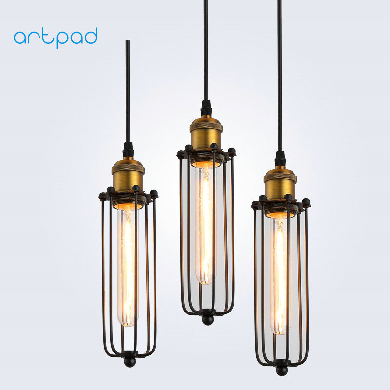 Artpad American Style Countryside Loft Vintage Pendant Lights Industrial Metal Lampshade LED Hang Lamp For Cafe Bar Fixtures american countryside industrial vintage