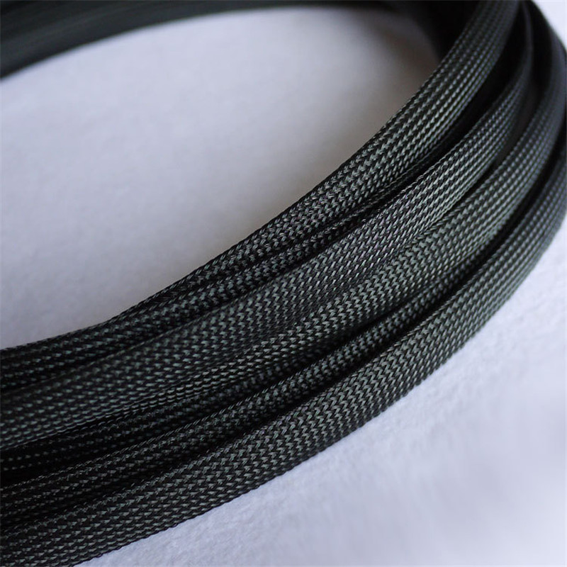 Black - High quality 12mm Braided PET Expandable Sleeving High Density Sheathing Plaited Cable Sleeves 1M 6mm braided cable wire sheathing sleeving harness expandable sleeving wire 20m mix color