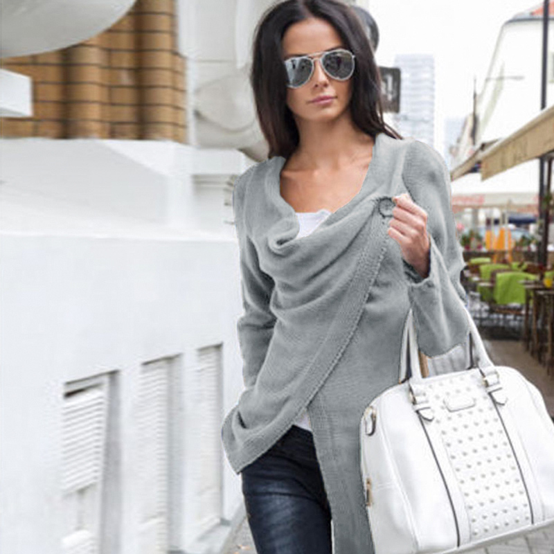 Women Knitwear Solid Color Buttons Asymmetric Draped Irregular Long Roll Up Sleeve Casual Loose Tops Sweaters Plus Size 4XL 5XL