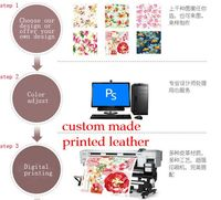 Customized Digital Own Brand Design Printing Synthetic PVC PU Leather Fabrics Supply