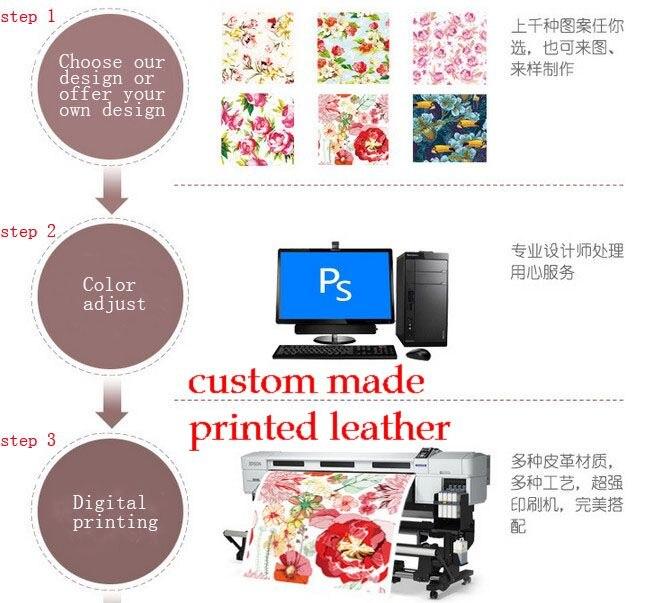 Numérique personnalisé propre marque conception impression synthétique PVC/PU cuir tissus d'approvisionnement