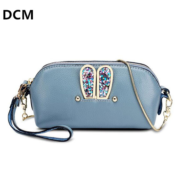Genuine Leather Bags Women Real Leather Blue Mini Crossbody Bag With Chain Shell Handbag Rivet Women Messenger Bags Shoulder