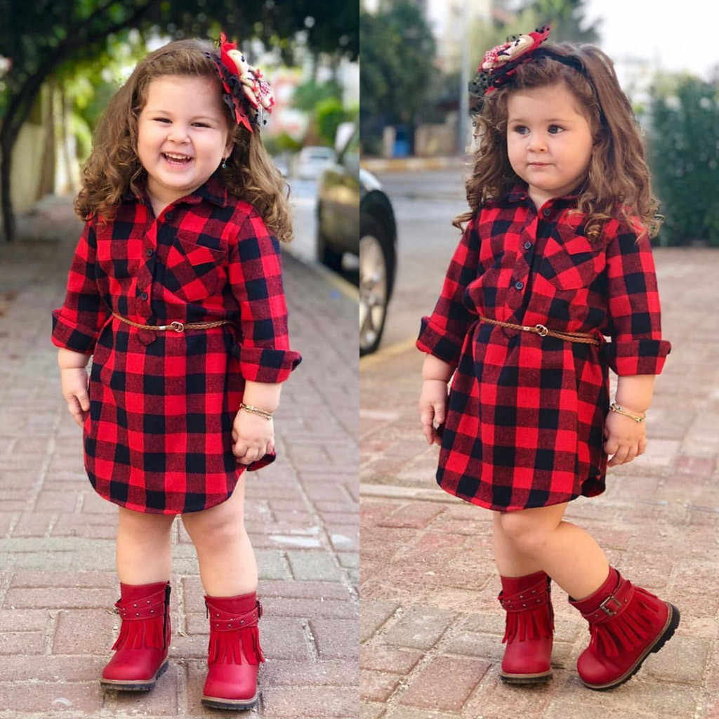 Toddler Kids Baby Girls Autumn Winter Dress Red Plaid Long Sleeve Casual Shirt Dresses Belt Outfits Children Clothing Vestidos