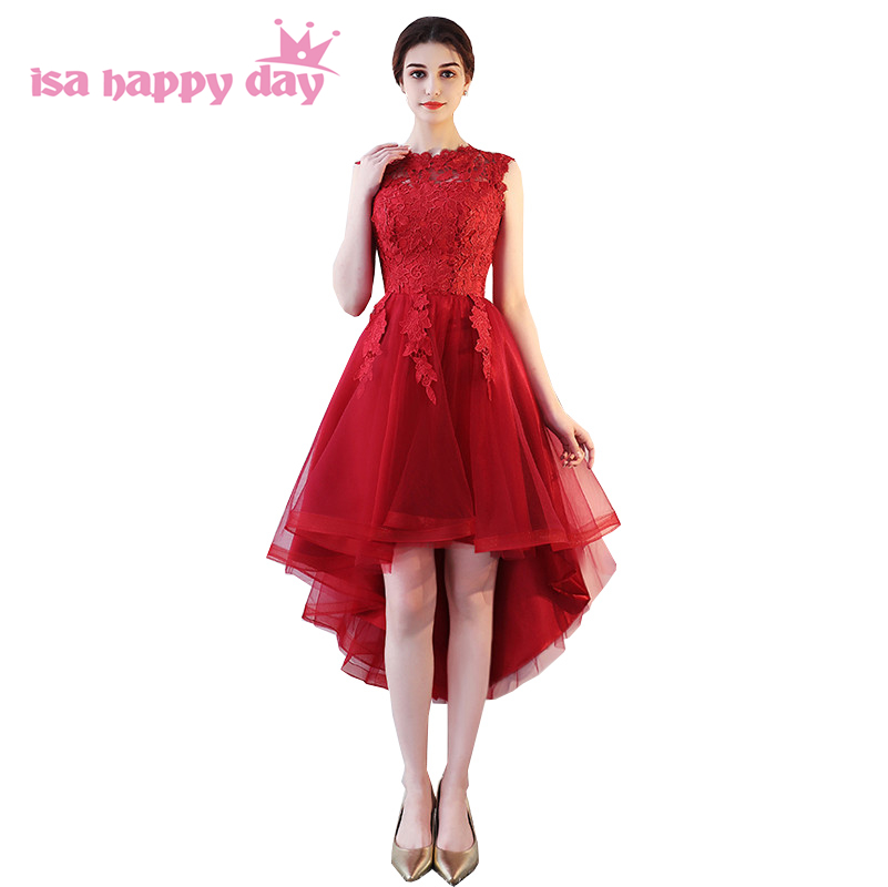 Earnest Wine Red O Neck High Low Hottest Bridesmaid Dresses Asymmetrical Short In The Front Long In The Back Bridesmaids Dress H4225 Bridesmaid Dresses