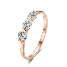 QCOOLJLY Wedding Three Zircon Flat Rhinestone Ring Crystal Silver Color Rings Engagement Gold Color Cubic Zircon Ring Women(China)