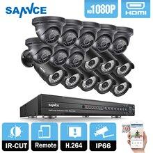 SANNCE HD Full 1080P 16CH AHD DVR 2000TVL 8pcs Bullet 8pcs Dome IR-CUT Home Video Security Camera System