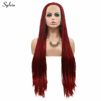 Sylvia Handmade Braided Box Braids Wig for Women Long Hair Pure Red/Pastel Pink/Brown/Blonde/Rose Red Synthetic Lace Front Wigs - DISCOUNT ITEM  10% OFF All Category
